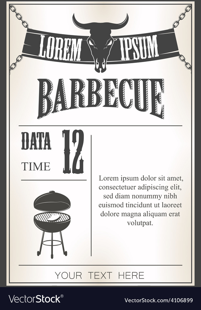 Vintage barbecue invitation vector | Price: 1 Credit (USD $1)