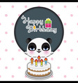 Cute panda birthday card vector