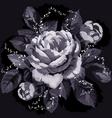Vintage monochrome rose with leaves on black backg vector