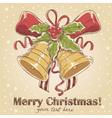 Christmas hand drawn retro postcard vector