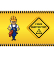 Constructor man cartoon under construction sign vector