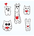 Doodle animals with hearts vector