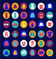 Set icons of fashion cloth and accessories collect vector