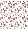 Cute sweet seamless pattern birthday background vector