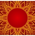 Red background with lace round ornament vector