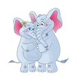 Elephants on a white background loving couple vector