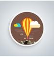 Hot air balloon flying over mountain round banner vector