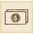 Grungy dollar bill icon vector