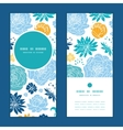 Blue and yellow flowersilhouettes vertical vector