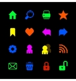 Colored pixel icons set for website vector