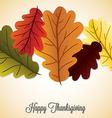 Acorn leaf thanksgiving card in format vector