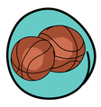 Two brown basketballs on blue round background vector
