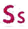 Letter s made from hearts love alphabet vector