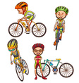 A coloured sketch of the cyclists vector