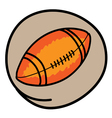 An american football on green round background vector