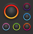 Glowing button template set vector