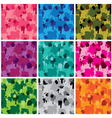Set of camouflage fabric patterns - different colo vector