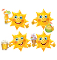 Funny sun with cool drinks and desserts vector