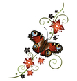 Tendril butterfly flowers vector
