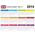Calendar 2014 english type 17 vector