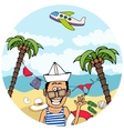 Happy tourist on a tropical vacation vector