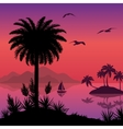 Tropical sea landscape with palms and ship vector