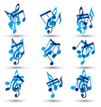 Set of blue abstract musical notes symbols vector