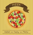 Italian tasty pizza menu vector