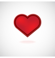Red heart valentines day card on white background vector