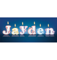Jayden written with burning candles vector