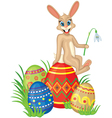 Card with bunny and easter eggs vector