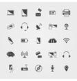 Black technology icons set vector