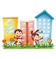 Two monkeys dancing in front of the buildings vector