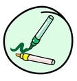Two marking pen on round green background vector