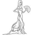 Beautiful latino woman in dress cartoon vector