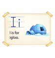 A letter i for igloo vector