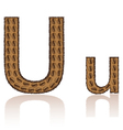 Letter u is made grains of coffee isolated on whit vector