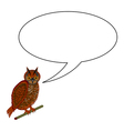 A funny cartoon owl with a speech bubble vector