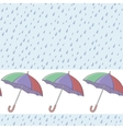 Umbrellas and rain seamless background vector