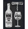 Chalk wine vector