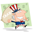 Uncle sam carrying a taxes bag vector