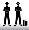 The silhouette of a man in a hat businessman vector