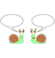 Two funny cartoon snails with talk bubbles vector
