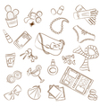 Cute doodle female things vector