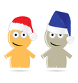 Funny people icon with christmas hat vector