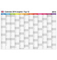 Calendar 2014 english type 12 vector