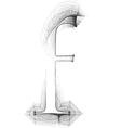 Sketch font letter f vector