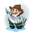 Fisherman catch a fish vector