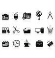 Black office tools icon set vector