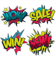 Wow sale win and new comic book style graphics vector